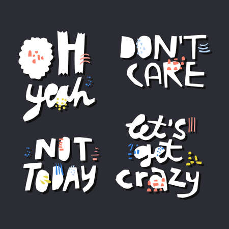 Sarcastic quotes hand drawn white lettering set. Ironic, cynical handwritten slang phrases on dark background. Calligraphic slogans collection. Poster, banner, t-shirt vector design elements Ilustração