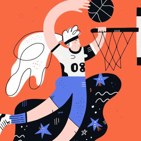 Female basketball player flat hand drawn vector illustration. Sportswoman cartoon character. Scandinavian style drawing. Girl throwing ball in basket. Womens basketball championship poster, banner