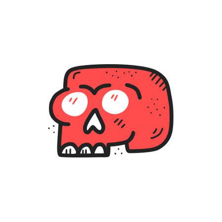 Ilustración de color plano dibujado a mano de calavera roja. Huesos de la cabeza humana con dientes, cuencas de los ojos y dibujo de boceto de la nariz. Imágenes Prediseñadas de dibujos animados aislados de estilo escandinavo. Elemento de diseño de tarjeta de felicitación de Halloween Ilustración de vector