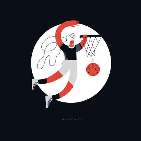 Female basketball player flat hand drawn vector illustration. Sportswoman throwing ball in basket cartoon character with lettering. Women's basketball championship poster, banner design idea Reklamní fotografie - 116800512