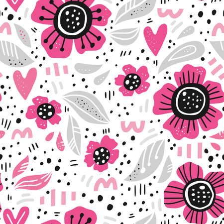 Pink flowers hand drawn color vector seamless pattern. Abstract camomiles with leaves, hearts sketch drawing. Scandinavian style cartoon floral texture. Wrapping paper, textile, background fill Ilustracja