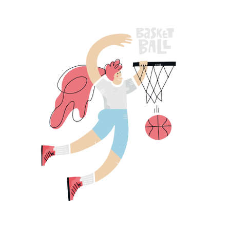 Female basketball player flat hand drawn vector illustration. Sportswoman throwing ball in basket cartoon character with lettering. Womens basketball championship poster, banner design idea