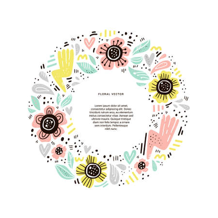 Floral round flat hand drawn frame. Circle border with flowers for text. Color blooming camomiles. Scandinavian style clip art with copyspace and blossom. Isolated greeting card, poster design element