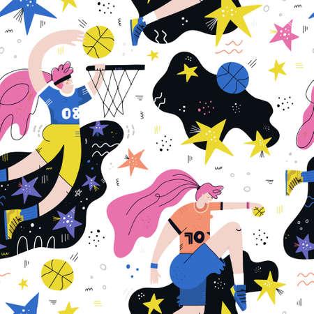 Female basketball player hand drawn seamless vector pattern. Sportswoman cartoon character. Womens sports scandinavian illustration. Basketball championship textile, wrapping paper, background design