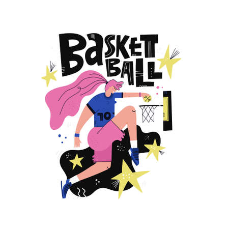 Female basketball player flat hand drawn vector illustration. Sportswoman cartoon character with black lettering. Scandinavian style drawing. Womens basketball championship poster, banner design Ilustrace
