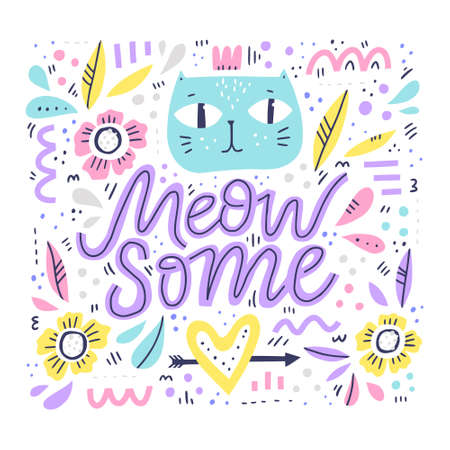 Cute cat hand drawn color illustration. Meow some funny slang handwritten quote. Kitten face with floral, geometric abstract shape patterns. Scandinavian style design element. Positive poster, banner Illustration