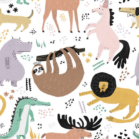 Lazy animals hand drawn color seamless pattern. Cute african lion, sloth cartoon characters. Ironic, sarcastic illustration. Wildlife party sketch drawing. Wrapping paper, textile, background fill