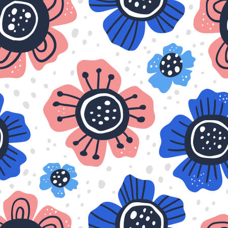 Flowers hand drawn flat color vector seamless pattern. Abstract blooming camomiles sketch drawing. Scandinavian style cartoon floral texture. Wrapping paper, textile, background design Ilustracja