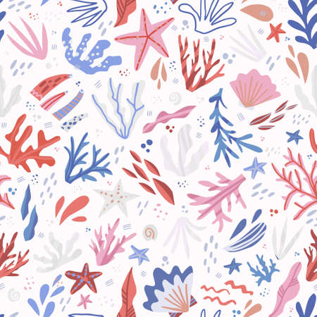 Underwater life cartoon hand drawn seamless pattern. Seaweed, corals, starfish, shells flat illustrations. Marine, nautical backdrop. Sea world, aquarium. Textile, wrapping paper, background design