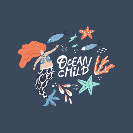 Mermaid hand drawn flat illustration. Ocean child white lettering. Underwater magical life. Red-haired girl with tail character. Marine mythical creature and fish, corals, starfish cartoon clipart Иллюстрация