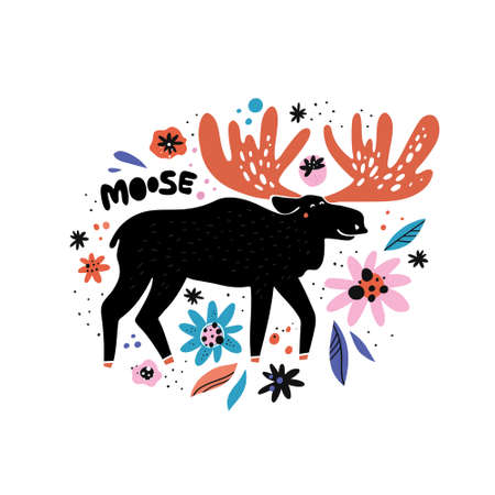 Cute moose flat hand drawn illustration. Black deer, reindeer with red antlers. Woodland animal character with lettering. Forest fauna. Zoo mammal. Elk clipart. Postcard, kids book design element 일러스트
