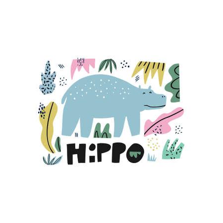 Ilustración de dibujado a mano plana de hipopótamo. Animal gigante. Personaje de dibujos animados de hipopótamos con letras. Selva, selva tropical, imágenes prediseñadas de fauna de sabana. Zoológico, mamífero safari. Postal de viaje, elemento de libro para niños Ilustración de vector