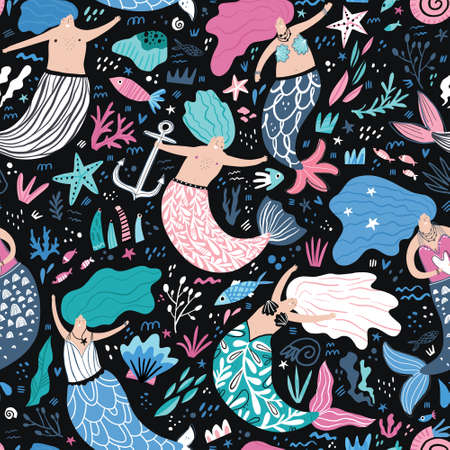 Mermaid flat hand drawn seamless pattern. Underwater magical life cartoon illustrations. Scandinavian style. Marine, nautical mythical creatures. Fairytale kid textile, wrapping paper, background Illustration