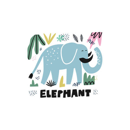 Cute elephant hand drawn vector illustration. Zoo, safari mammal with tusks. African animal cartoon character and lettering. Jungle, rainforest, savanna fauna. Travel postcard, t-shirt design element Illustration