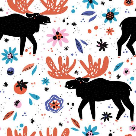 Moose flat hand drawn seamless pattern. Black reindeer, deer cartoon character. Woodland animal. Elk mammal with flowers, berries texture. Wildlife wrapping paper, kid textile, background  design
