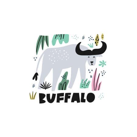 Cute buffalo flat hand drawn vector illustration. Bison cartoon character with lettering. Jungle, rainforest, savanna animal clipart. Zoo, safari mammal. Wildlife travel postcard, kid€™s book design Çizim