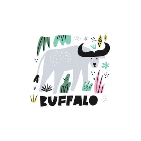 Cute buffalo flat hand drawn vector illustration. Bison cartoon character with lettering. Jungle, rainforest, savanna animal clipart. Zoo, safari mammal. Wildlife travel postcard, kid€™s book design Illustration