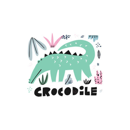 Cute crocodile hand drawn vector illustration. Alligator cartoon character with lettering. Jungle, rainforest, savanna fauna clipart. Zoo, safari reptilian. Travel postcard, kids book design element 일러스트