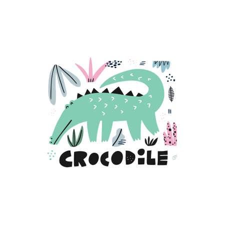 Cute crocodile hand drawn vector illustration. Alligator cartoon character with lettering. Jungle, rainforest, savanna fauna clipart. Zoo, safari reptilian. Travel postcard, kids book design element Illustration