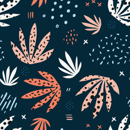 Plants leaves hand drawn vector seamless pattern. Stylized marijuana flat illustration. Indoor plants cartoon background. Multicolor spotty houseplants, grass. Botanical wrapping paper, textile design