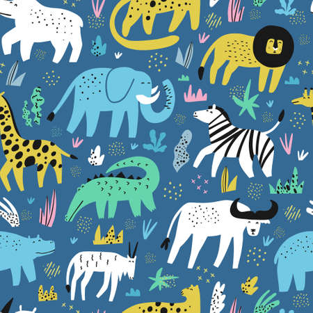 African animals flat hand drawn color seamless pattern. Cute jungle creatures cartoon characters. Rainforest, savanna fauna. Zoo, safari mammal. Buffalo, gator, lion. Wrapping paper, background design