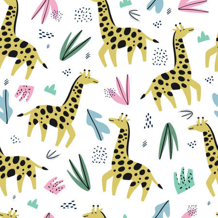 Giraffe flat hand drawn color seamless pattern. Cute african animal cartoon character. Jungle, rainforest, savanna creature. Zoo, safari mammal.Wildlife wrapping paper, textile, background design Çizim