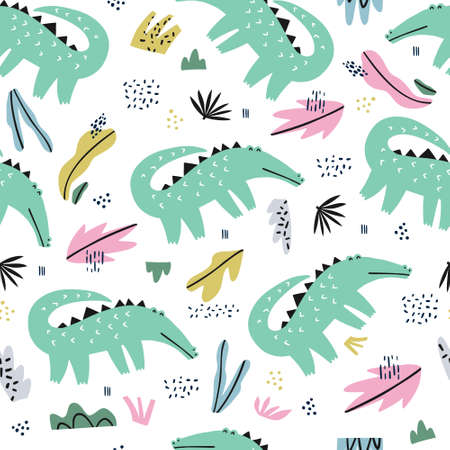 Crocodile flat hand drawn seamless pattern. Cute alligator cartoon character. Jungle, rainforest, savanna african animal. Zoo, safari wildlife mammal.Wrapping paper, kid textile, background design