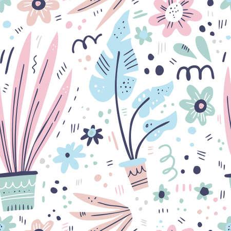 House plants hand drawn color vector seamless pattern. Flowerpots with flowers cartoon texture. Houseplants scandinavian style illustrations. Monstera, snake plants sketch textile, background design Illustration