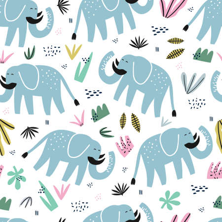 Cute elephant hand drawn color seamless pattern. African animal with tusks cartoon character. Jungle, rainforest, savanna fauna. Zoo, safari mammal. Wildlife wrapping paper, kid textile vector design Иллюстрация