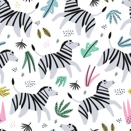 Zebra flat hand drawn color seamless pattern. Cute african animal cartoon character. Jungle, rainforest, savanna fauna. Zoo, safari wildlife mammal.Wrapping paper, kid textile, background design