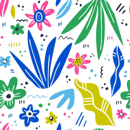 Floral hand drawn color vector seamless pattern. Flowers, plant leaves cartoon texture. Houseplants scandinavian style illustrations. Sketch textile, background, wrapping paper design Illustration