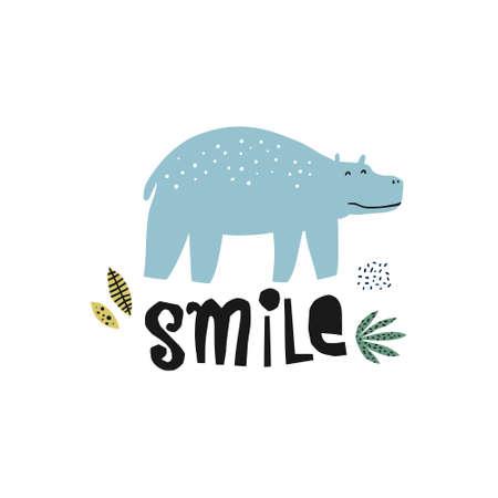 Ilustración de dibujado a mano plana de Behemoth. Animal hipopótamo. Personaje de dibujos animados de hipopótamo Letras de sonrisa. Selva, selva, fauna de sabana. Zoológico, mamífero safari. Postal positiva, elemento de libro para niños. Ilustración de vector