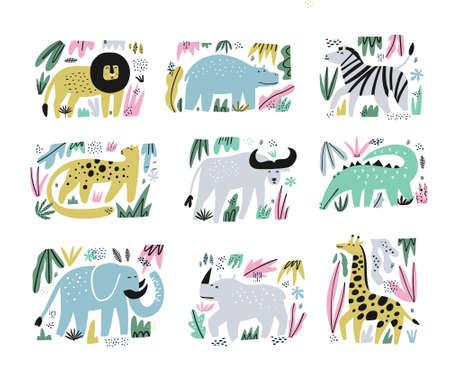African animals hand drawn flat illustrations set. Jungle, rainforest, savanna fauna sketch cliparts. Zoo, safari mammals characters. Cartoon lion, crocodile, giraffe, zebra. Wildlife design elements Stock Vector - 124276234
