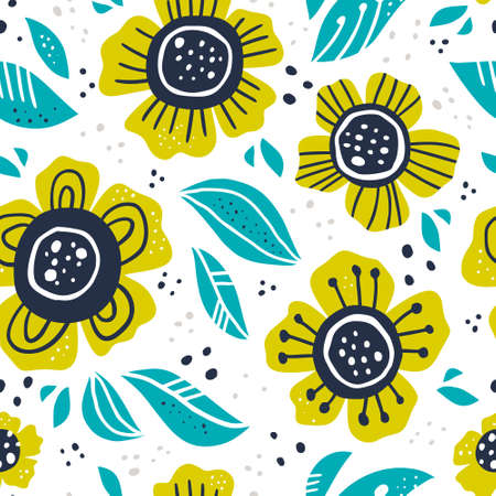 Green flowers hand drawn color vector seamless pattern. Abstract camomiles with leaves, sketch drawing. Scandinavian style cartoon floral texture. Wrapping paper, textile, background fill Illustration