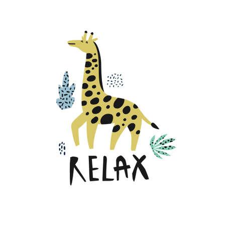 Giraffe flat hand drawn vector character. African animal cartoon illustration. Relax lettering, plant leaves. Jungle, rainforest, savanna mammal. Zoo, safari fauna. Travel postcard, kid book clipart