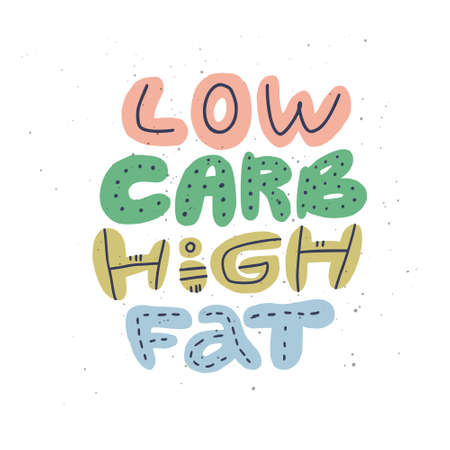 Low carb high fat cartoon stylized lettering. Keto diet flat hand drawn typography. Ketogenic eating quote, phrase with multicolor words. Healthy nutrition isolated poster, banner design element