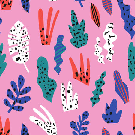 Houseplants flat hand drawn seamless pattern. Indoor plants background. Monstera, snake plant, succulent cartoon illustrations. Multicolor spotty leaves. Botanical wrapping paper, textile design