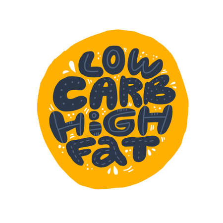 Low carb high fat black collage lettering. Keto diet flat hand drawn illustration. Ketogenic eating isolated slogan, phrase on yolk background. Healthy nutrition poster, banner design template