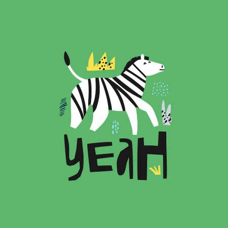 Zebra flat hand drawn character. African animal cartoon illustration. Yeah lettering. Jungle, rainforest, savanna fauna on green background. Zoo, safari mammal. Travel postcard, kid€™s poster elem