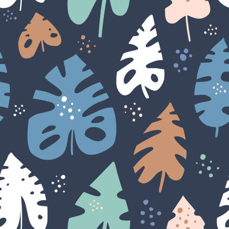 Monstera leaves hand drawn vector seamless pattern. Swiss cheese plants cartoon texture. Houseplants scandinavian illustrations. Multicolor leaves. Botanical wallpaper, textile, background design Illustration