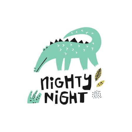 Green crocodile hand drawn illustration. Alligator flat character. Nighty-night lettering. Jungle, rainforest fauna. Gator, croc clipart. Zoo, safari reptilian. Cute greeting card, kid��s book element