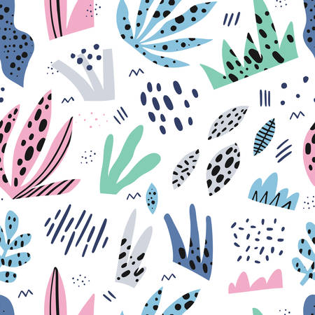 Grass flat hand drawn seamless vector pattern. Herbal color background, backdrop. Outdoor plants cartoon illustrations. Multicolor spotty leaves texture. Botanical wrapping paper, textile design