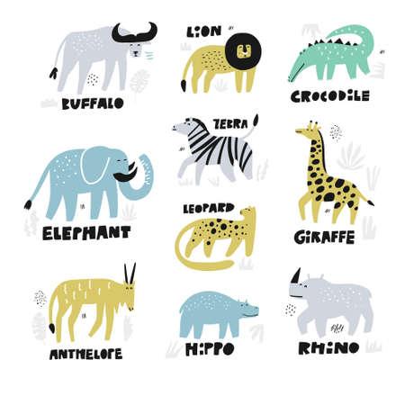 African animals hand drawn characters set. Jungle, rainforest, savanna fauna with names letterings. Zoo, safari mammals flat illustrations. Cartoon lion, buffalo, giraffe, rhino. Kids book cliparts
