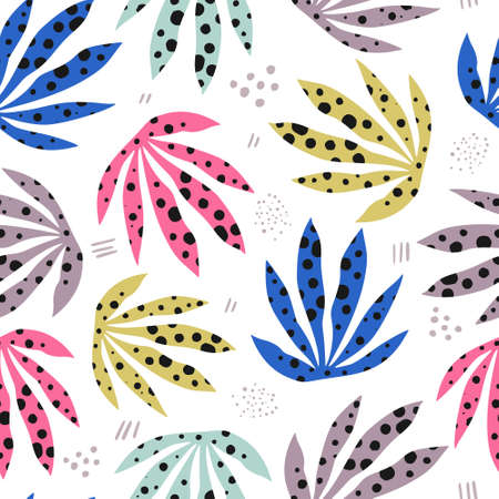 Plants spotty leaves flat hand drawn seamless pattern. Stylized marijuana illustration. Indoor plants, grass, weed cartoon background. Multicolor houseplants. Botanical wrapping paper, textile design