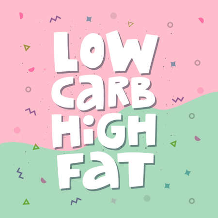 Low carb high fat white collage lettering. Keto diet flat hand drawn illustration. Ketogenic eating slogan, phrase on memphis background. Healthy nutrition poster, banner design template Foto de archivo - 119132643