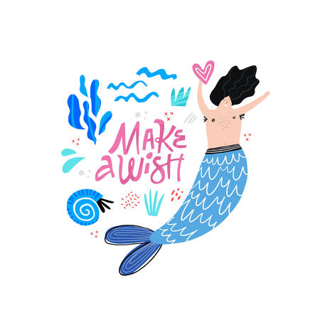 Marman cartoon vector character. Male mermaid. Underwater magical creature. Boy with tail illustration. Make a wish lettering. Ocean mythical life hand drawn design element. Fairytale isolated clipart