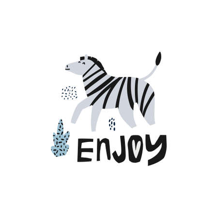 Zebra flat hand drawn vector illustration. African animal cartoon character. Jungle, rainforest, savanna fauna clipart. Enjoy lettering. Zoo, safari mammal. Greeting card, kids book design element