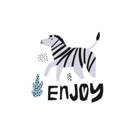Zebra flat hand drawn vector illustration. African animal cartoon character. Jungle, rainforest, savanna fauna clipart. Enjoy lettering. Zoo, safari mammal. Greeting card, kids book design element