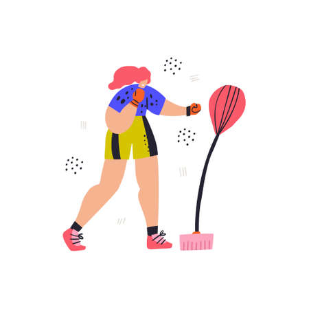 Woman with punching bag hand drawn illustration. Female athlete in boxing gloves cartoon character. Boxer training exercise, body workout. Isolated flat sportswoman on white background Illustration