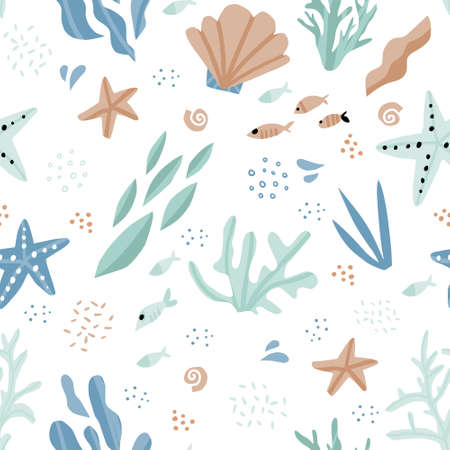 Sea world cartoon hand drawn seamless pattern. Seaweed, coral, starfish, fish, shells flat illustrations. Marine, nautical backdrop. Underwater life. Aquarium creatures. Textile, wrapping paper design
